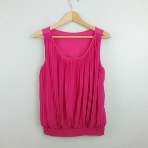 Loft//Pink Pleated Front Tank Top